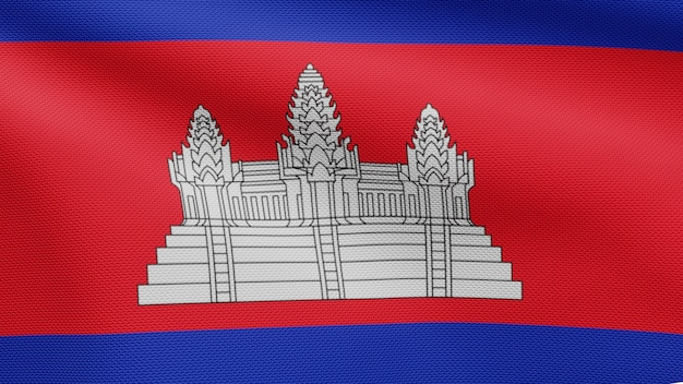 3d, cambodian flag waving in the wind. close up of cambodia banner blowing, soft and smooth silk. cloth fabric texture ensign background.