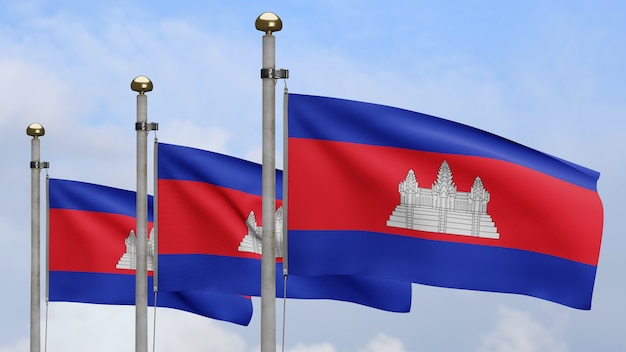3d, cambodian flag waving on wind with blue sky. close up of cambodia banner blowing, soft and smooth silk. cloth fabric texture ensign background.