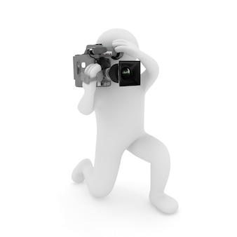 3d 카메라맨 흰색 절연