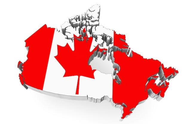 白い背景の上の旗と3dカナダ地図