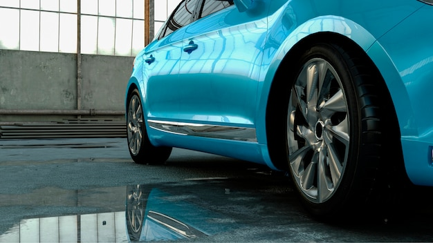 3d car sedan stands in a hangar with reflection in a puddle, concept 3d render for advertising auto products.