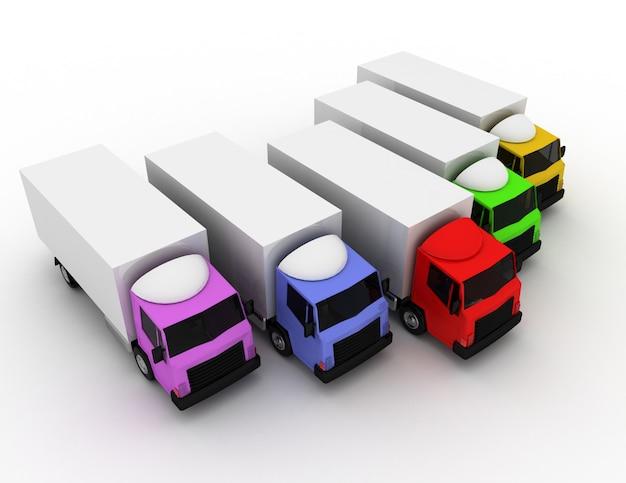 배달 개념의 3d 자동차 트럭 지도자입니다. 3d 렌더링 된 그림