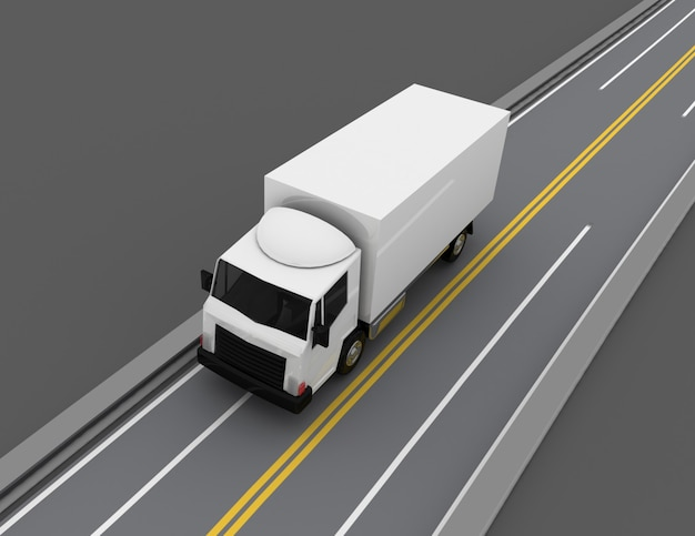 도로에 3d 자동차 트럭입니다. 3d 렌더링 된 그림