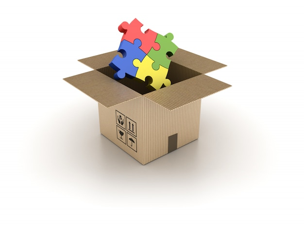 3d cardboard box with puzzle