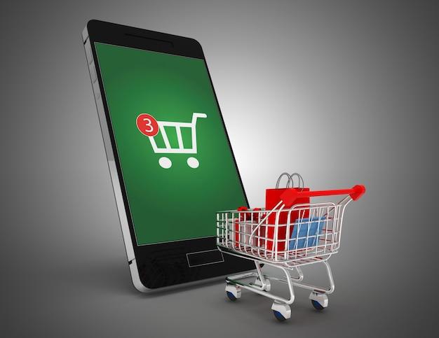 3d тележка и смартфон. онлайн-концепция покупок. 3d иллюстрация