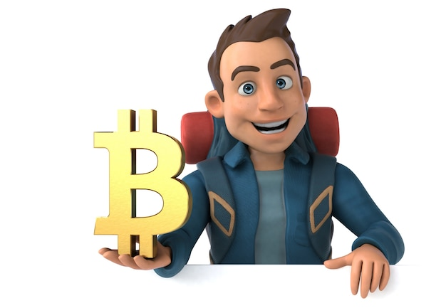 ビットコイン シンボルの 3 d 漫画バックパッカー