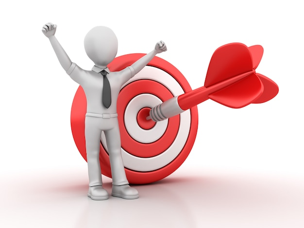 3d cartoon business character with target and dart