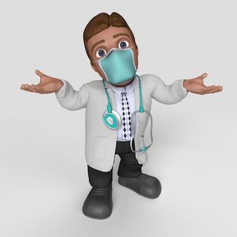 3d мультфильм доктор персонаж в маске для лица