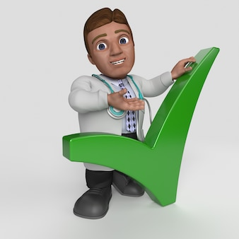 3d cartoon doctor character