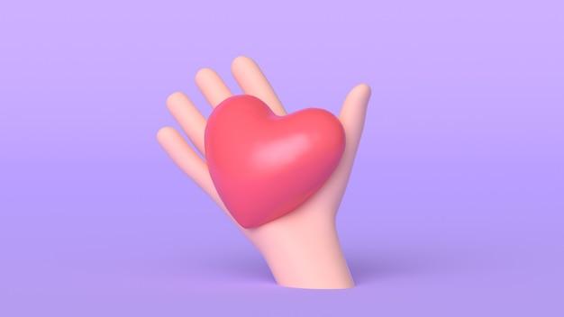 3d мультфильм рука держит сердце, изолированные на фиолетовом фоне, рука с красным сердцем макет. 3d визуализация иллюстрации. концепция любви.