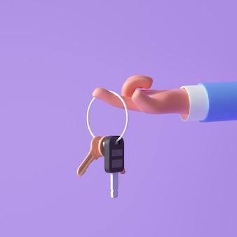 보라색 배경에 키를 들고 3d 만화 손입니다. 3d 렌더링 그림