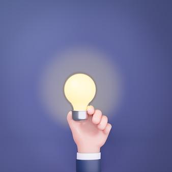 輝く光ランプ電球を持っている3d漫画の手。マーケティングの概念。 3dイラストのレンダリング。