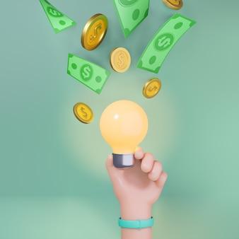 お金のコイン紙幣で光る電球を持っている3d漫画の手。マーケティングの概念。 3dイラストのレンダリング。