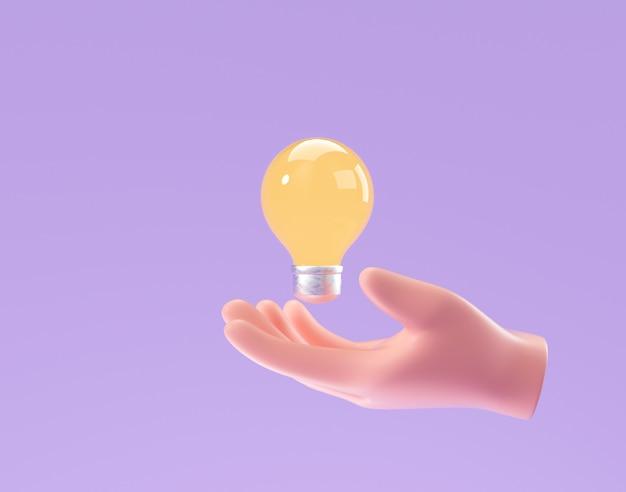 紫色の背景に電球を持っている3d漫画の手。思考、良いアイデア、ビジネスの成功の創造的な概念。 3dレンダリングイラスト