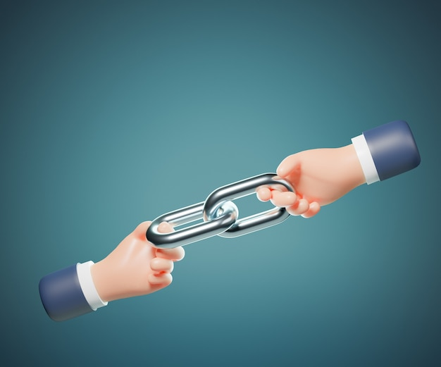 3d cartoon hand holding link chain. network concept. 3d illustration rendering.