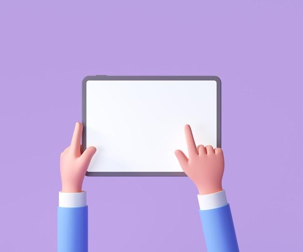 紫色の背景で隔離の3d漫画の手持ち、タブレットのモックアップを使用して手。 3dレンダリングイラスト