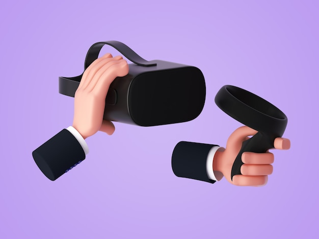 3d cartoon hand holding a virtual reality headset and holding a controllers with the other hand