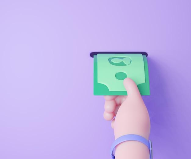 3d 만화 손은 포트에서 돈 지폐를 선택합니다. 3d 일러스트레이터 렌더링.