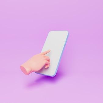 3d мультфильм рука касаясь экрана мобильного телефона
