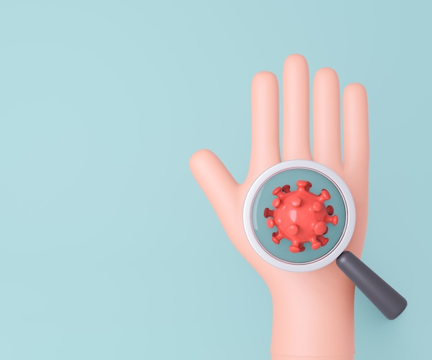 3d cartoon hand with magnifying glass virus cell on blue background. 3d illustration rendering.