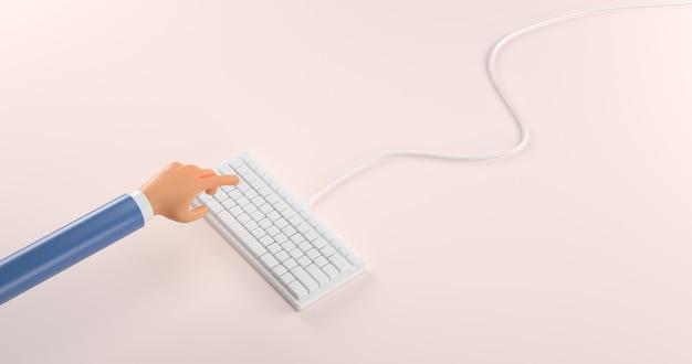 Руки шаржа 3d нажимают клавиатуру с простым дизайном с переводом пастельных colors.3d.