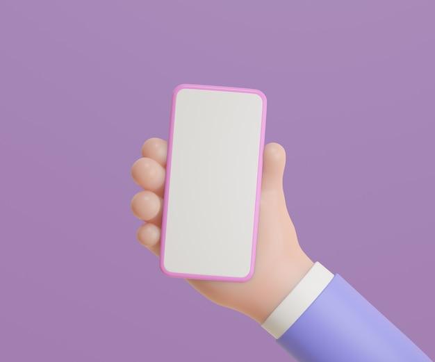 보라색 배경에 스마트폰을 들고 3d 만화 손입니다. 3d 그림 렌더링입니다.