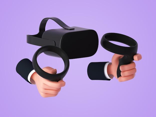 3d-мультяшные руки держат сенсорные контроллеры, а сзади - гарнитура или очки виртуальной реальности