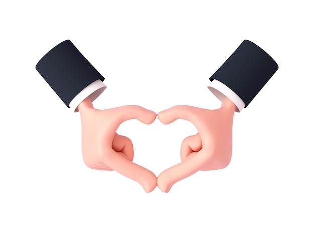 소매가 있는 3d 만화 손은 쥔 손가락의 손바닥 뒤쪽으로 심장 제스처를 만듭니다