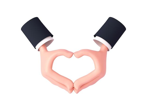 소매가 있는 3d 만화 손은 움켜쥐지 않은 손가락의 뒷면으로 심장 제스처를 만듭니다