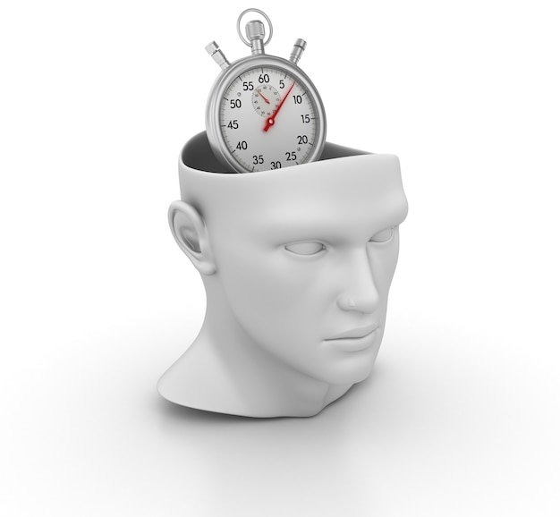 3d cartoon human head with stopwatch