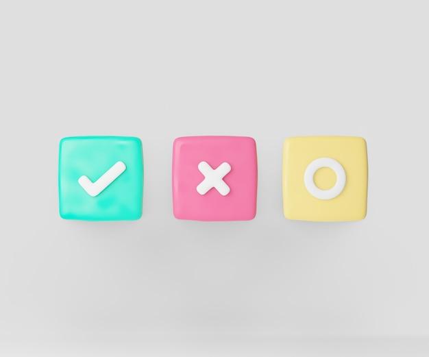 확인 표시, 십자가, 원 기호 3d 만화 아이콘 파스텔 색상 프레임. 3d 일러스트레이션 렌더링