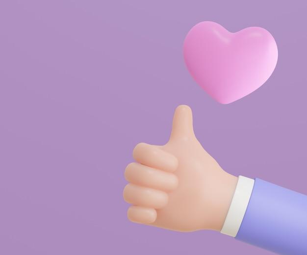 3d 만화는 보라색 바탕에 핑크색 하트로 엄지손가락을 치켜세웁니다. 3d 렌더링 그림