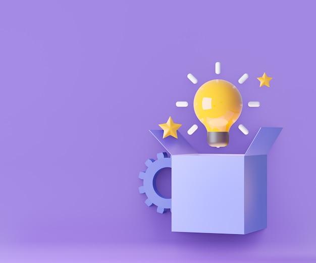 ボックスから3d漫画の黄色い電球。アイデアの創造的なコンセプト。 3dイラスト画像。