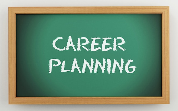 3d chalkboard with career planning text
