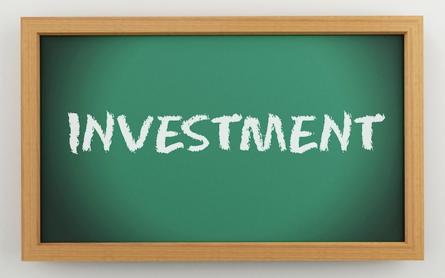 3d chalkboard with investment text