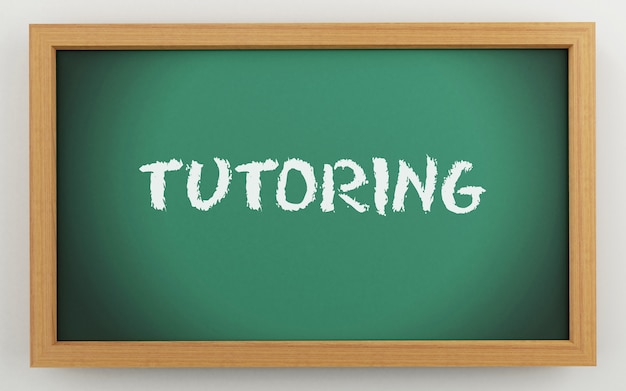 3d chalkboard with tutoring text