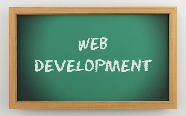 3d chalkboard with web development text