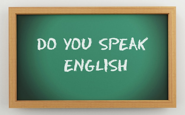 3d chalkboard with do you speak english text