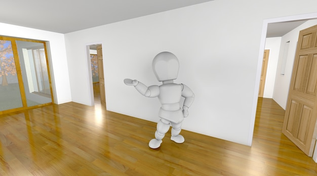 3d character in a house