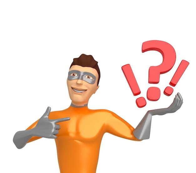 彼の手に疑問符を保持し、白い背景の上のスーパーヒーローの衣装で3dキャラクター。 3dイラスト