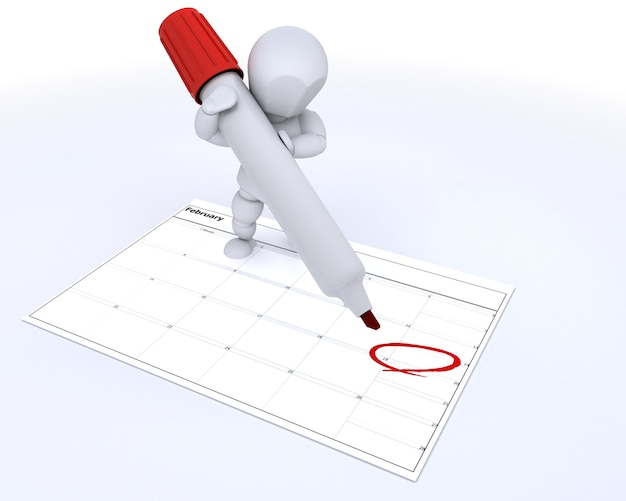 3d character marking in red one day on the calendar