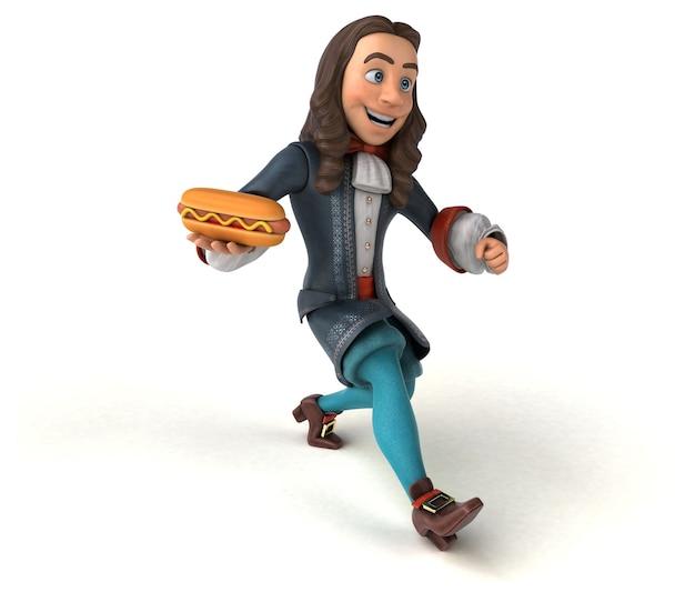 歴史的なバロック様式の衣装を着た漫画の男の 3 d キャラクター