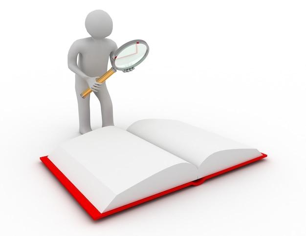 Книга чтения персонажей 3d, изолированные на белом фоне