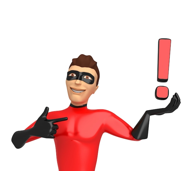 3d character in a superhero costume on a white background, holding exclamation marks on his hand. 3d illustration