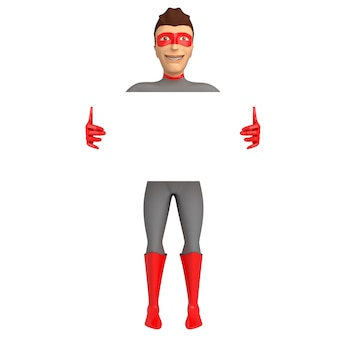 3d character in a superhero costume with his hands up on a white background. 3d illustration