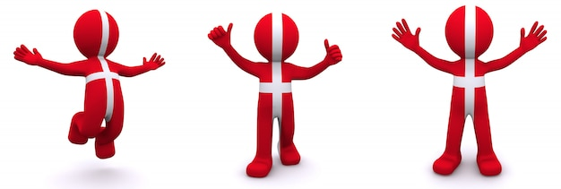 3d character textured with flag of denmark
