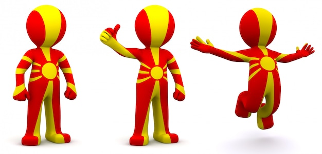3d character textured with flag of iran macedonia