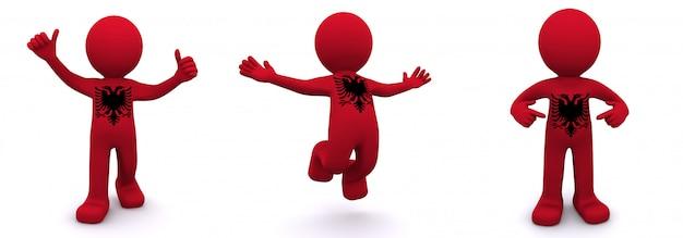 3d персонаж текстурированный с флагом албании