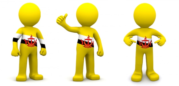3d персонаж текстурированный с флагом брунея