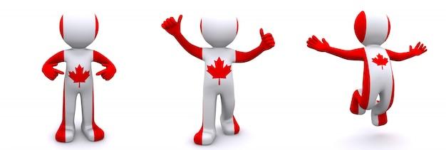3d персонаж текстурированный с флагом канады